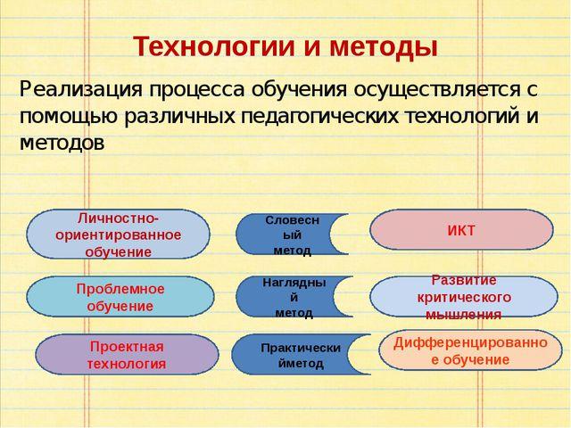 Технологии и методы Реализация процесса обучения осуществляется с помощью раз...