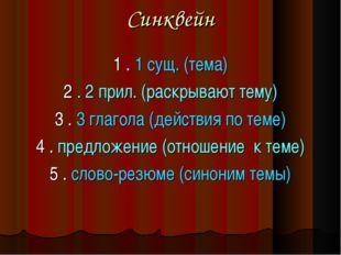 Синквейн 1 . 1 сущ. (тема) 2 . 2 прил. (раскрывают тему) 3 . 3 глагола (дейст