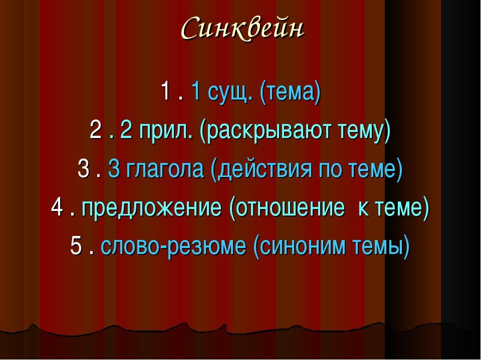 Синквейн 1 . 1 сущ. (тема) 2 . 2 прил. (раскрывают тему) 3 . 3 глагола (дейст...