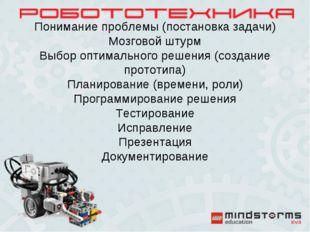 Понимание проблемы (постановка задачи) Мозговой штурм Выбор оптимального реше
