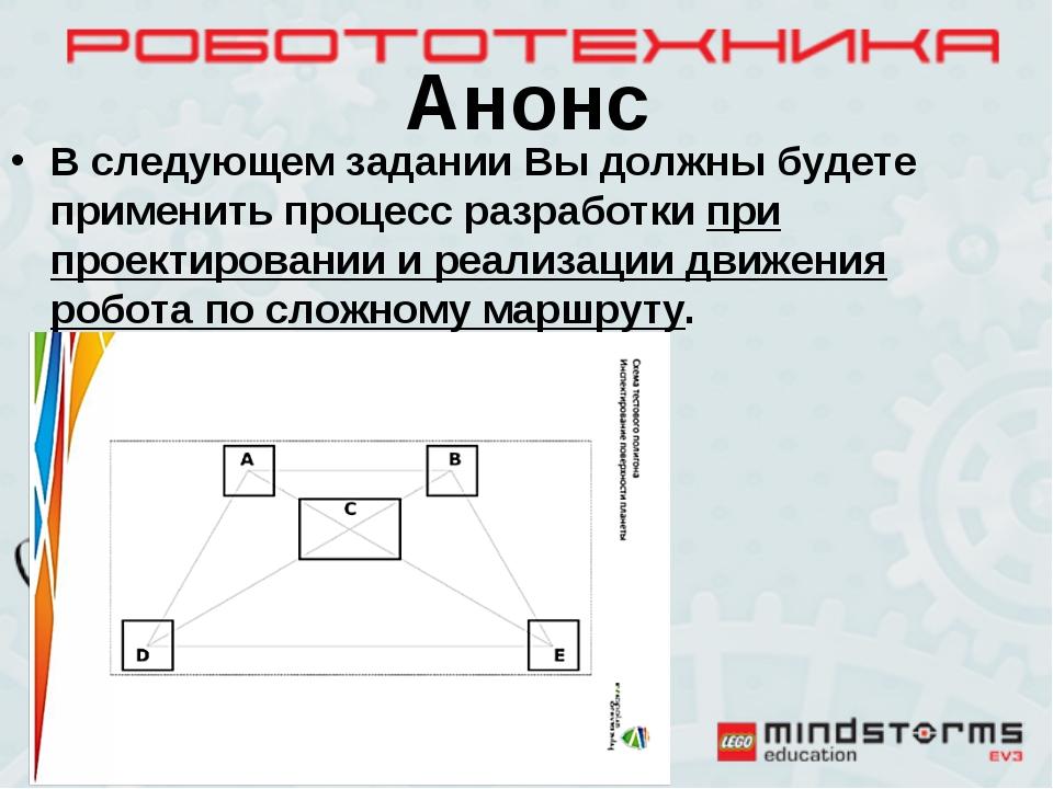 Анонс В следующем задании Вы должны будете применить процесс разработки при п...