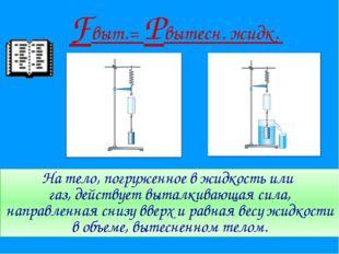 На тело, погруженное в жидкость или газ, действует выталкивающая сила, направ
