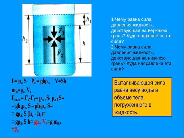 1.Чему равна сила давления жидкости, действующая на верхнюю грань? Куда напр...