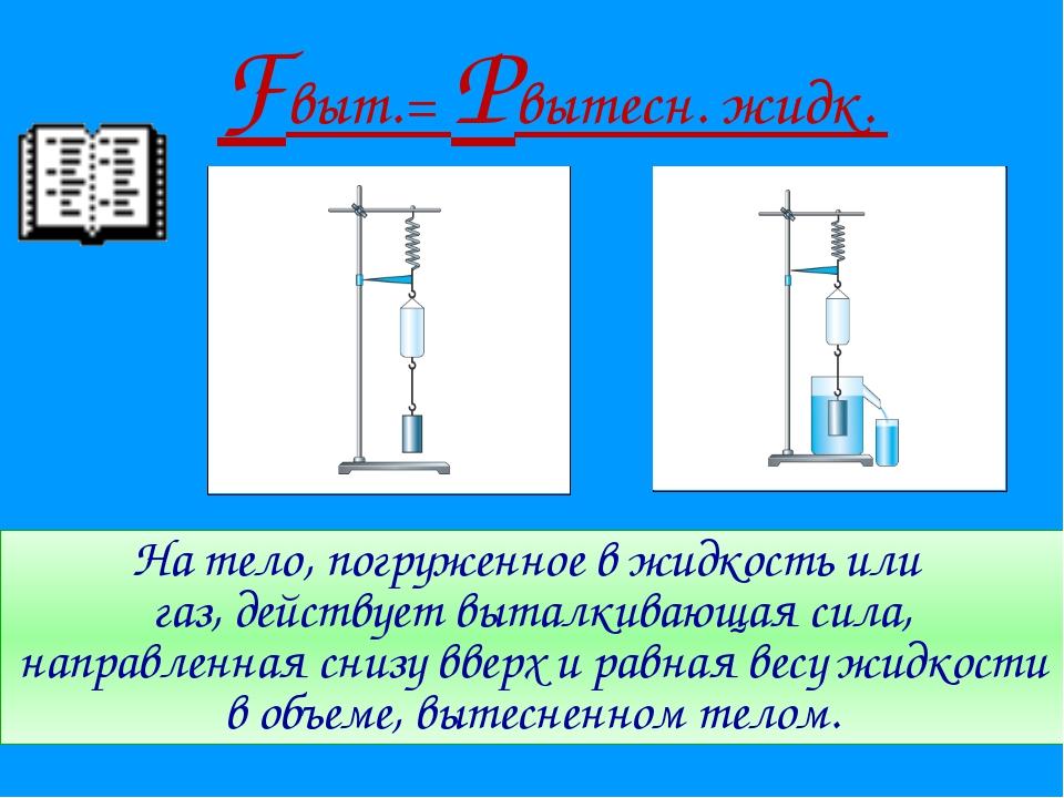 На тело, погруженное в жидкость или газ, действует выталкивающая сила, направ...