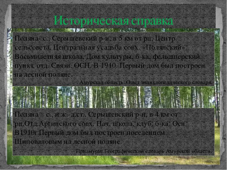 Историческая справка Поляна- с., Серышевский р-н, в 5 км от рц, Центр сельсов...