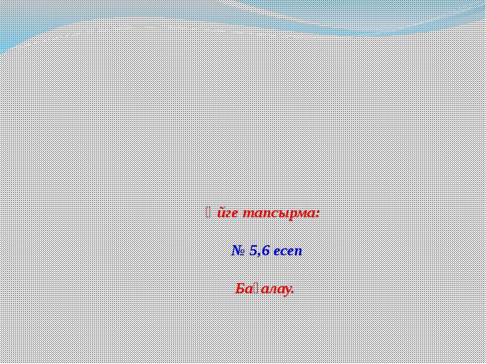 Үйге тапсырма: № 5,6 есеп Бағалау.