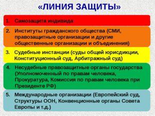 «ЛИНИЯ ЗАЩИТЫ» Самозащита индивида Институты гражданского общества (СМИ, прав