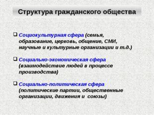 Социокультурная сфера (семья, образование, церковь, общение, СМИ, научные и к
