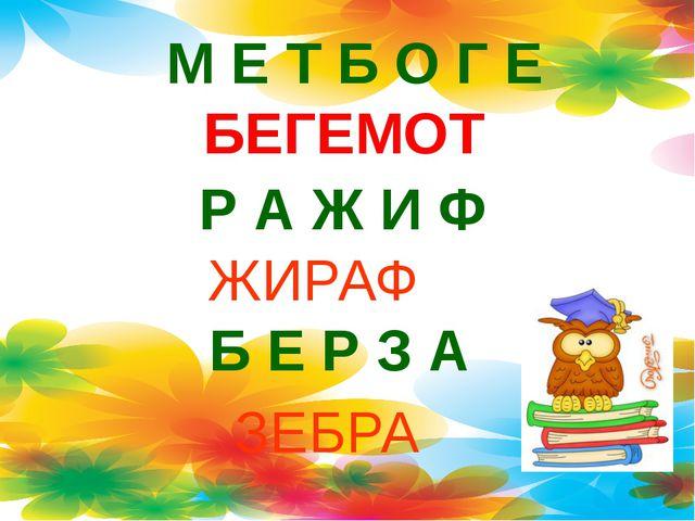 М Е Т Б О Г Е БЕГЕМОТ Р А Ж И Ф ЖИРАФ Б Е Р З А ЗЕБРА