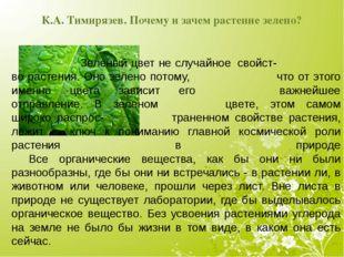К.А. Тимирязев. Почему и зачем растение зелено? Зеленый цвет не случайное
