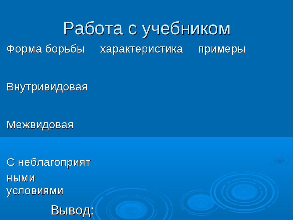 Работа с учебником Вывод: Форма борьбыхарактеристикапримеры Внутривидовая...