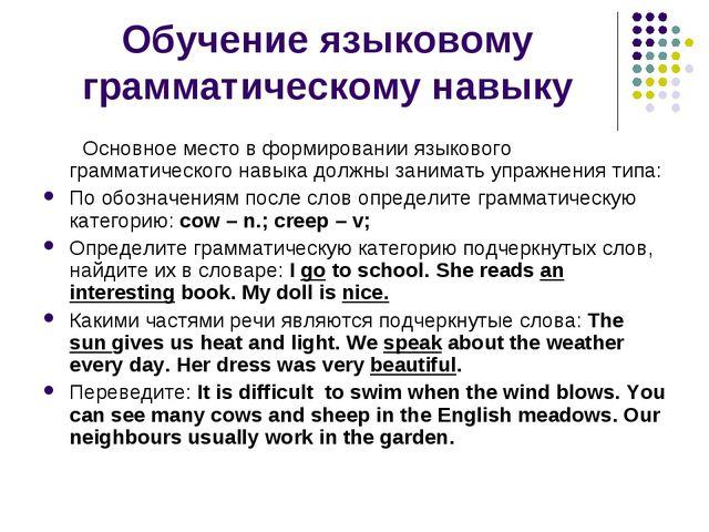 Обучение языковому грамматическому навыку Основное место в формировании языко...