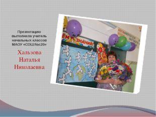 Презентацию выполнила учитель начальных классов МАОУ «СОШ №с20» Хальзова Ната