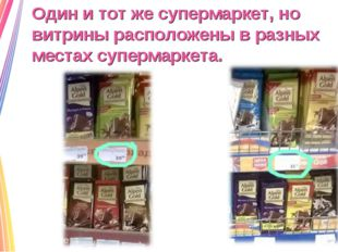 Один и тот же супермаркет, но витрины расположены в разных местах супермаркета.