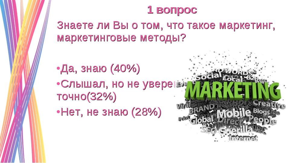 1 вопрос Знаете ли Вы о том, что такое маркетинг, маркетинговые методы? Да, з...