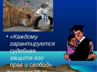 «Каждому гарантируется судебная защита его прав и свобод» (Конституция РФ, ст.