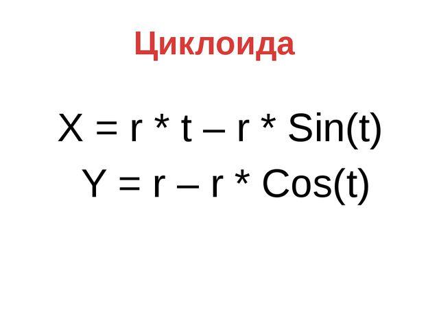 X = r * t – r * Sin(t) Y = r – r * Cos(t) Циклоида