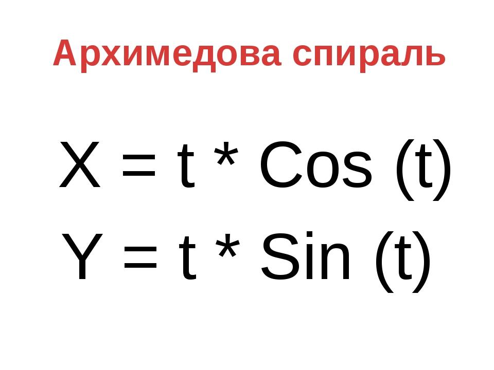 X = t * Cos (t) Y = t * Sin (t) Архимедова спираль