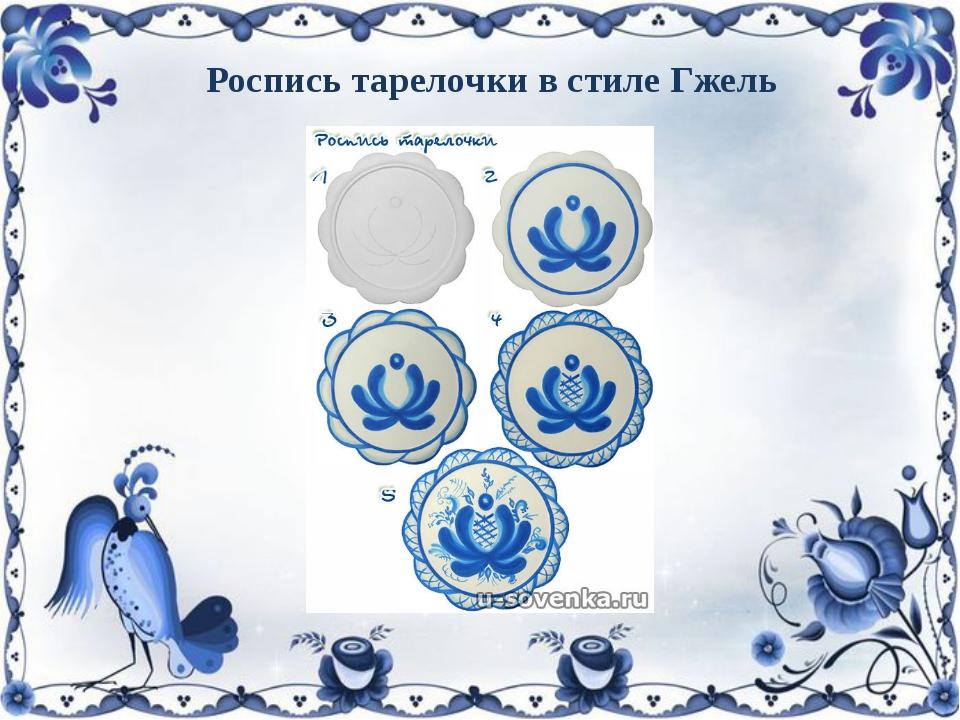 Роспись тарелочки в стиле Гжель