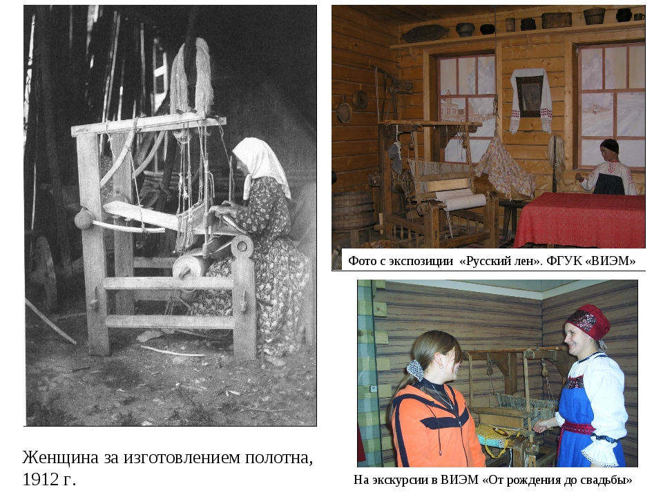 Фото с экспозиции «Русский лен». ФГУК «ВИЭМ» Женщина за изготовлением полотна...