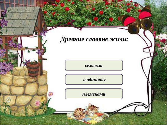 Древние славяне жили: семьями в одиночку племенами