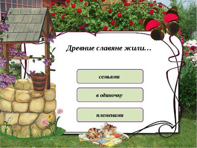 Древние славяне жили… семьями племенами в одиночку