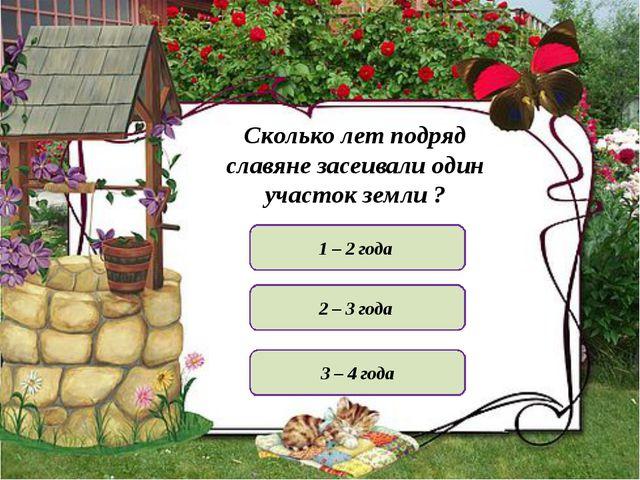 Сколько лет подряд славяне засеивали один участок земли ? 1 – 2 года 3 – 4 го...