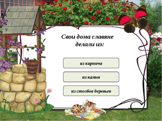 из кирпича из камня из столбов деревьев Свои дома славяне делали из: