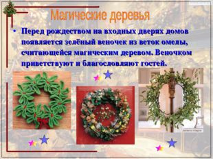 Перед рождеством на входных дверях домов появляется зелёный веночек из веток