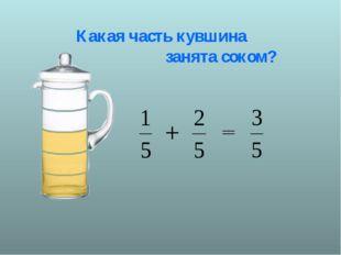 Какая часть кувшина занята соком?