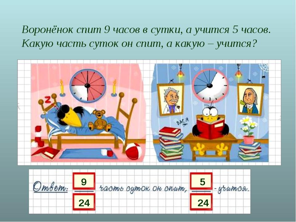 Воронёнок спит 9 часов в сутки, а учится 5 часов. Какую часть суток он спит,...