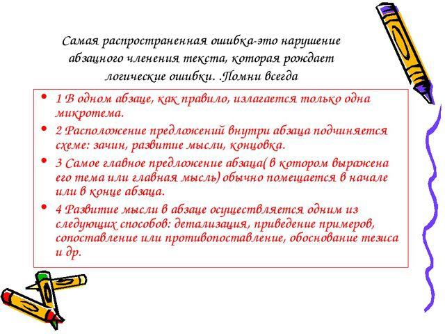 Самая распространенная ошибка-это нарушение абзацного членения текста, котора...