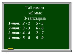 Тақтамен жұмыс 3-тапсырма 1-топ: 2 - 2 5 - 5 2-топ: 3 - 3 6 - 6 3-топ: 4 - 4