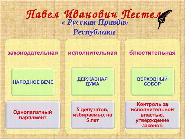 Павел Иванович Пестель « Русская Правда» Республика