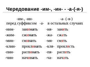 Чередование -им-, -ин- - -а-(-я-) -им-, -ин- перед суффиксом -а-  -а- (-я-)