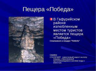 Пещера «Победа» В Гафурийском районе излюбленным местом туристов является пещ