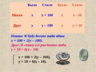 Некто: Я буду богаче тебя вдвое х + 100 = 2(у – 100). Друг: Я стану в 6 раз б
