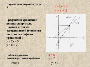 Графиками уравнений являются прямые. В одной и той же координатной плоскости