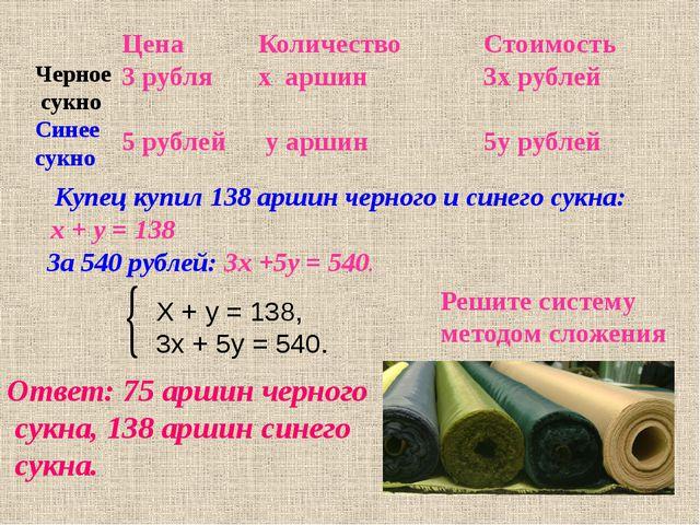 Купец купил 138 аршин черного и синего сукна: х + у = 138 Решите систему мет...