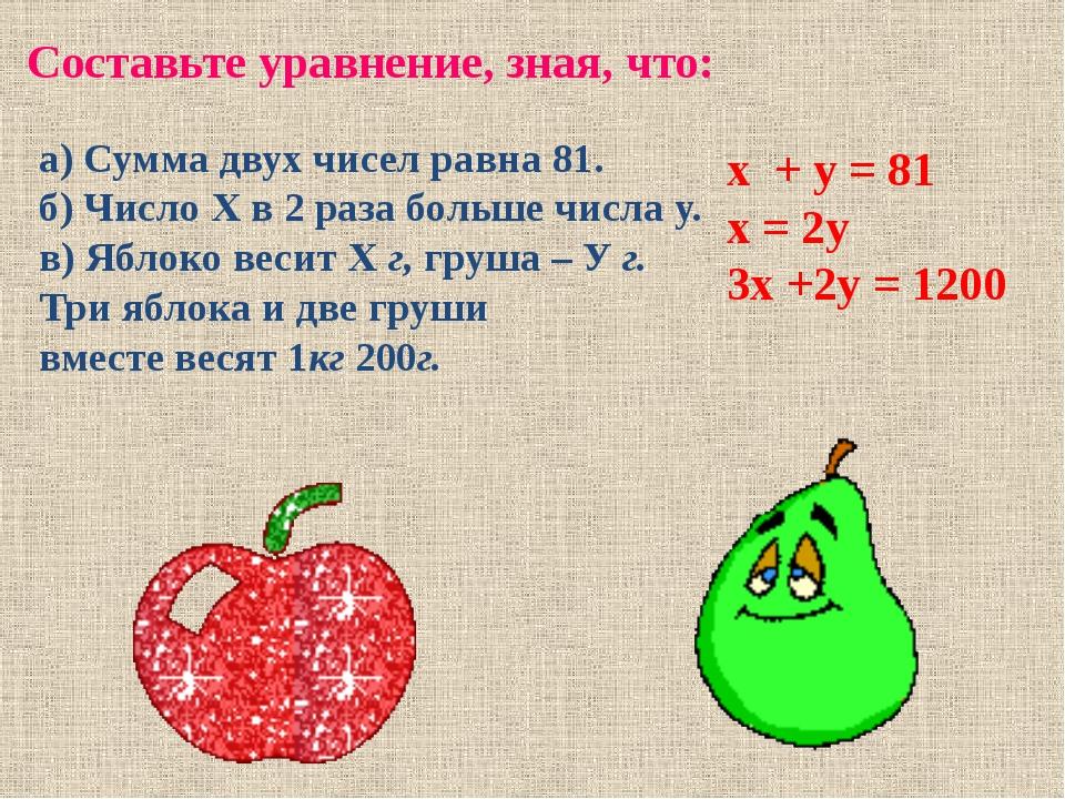 Составьте уравнение, зная, что: а) Сумма двух чисел равна 81. б) Число Х в 2...