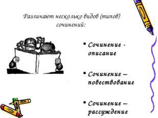 Различают несколько видов (типов) сочинений: Сочинение - описание Сочинение –