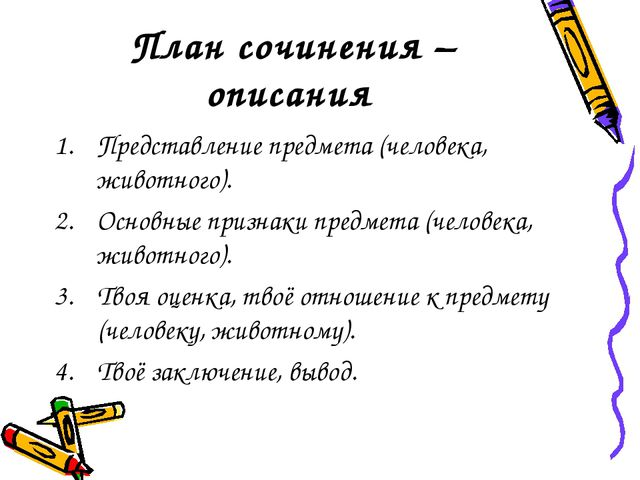 План сочинения – описания Представление предмета (человека, животного). Осно...