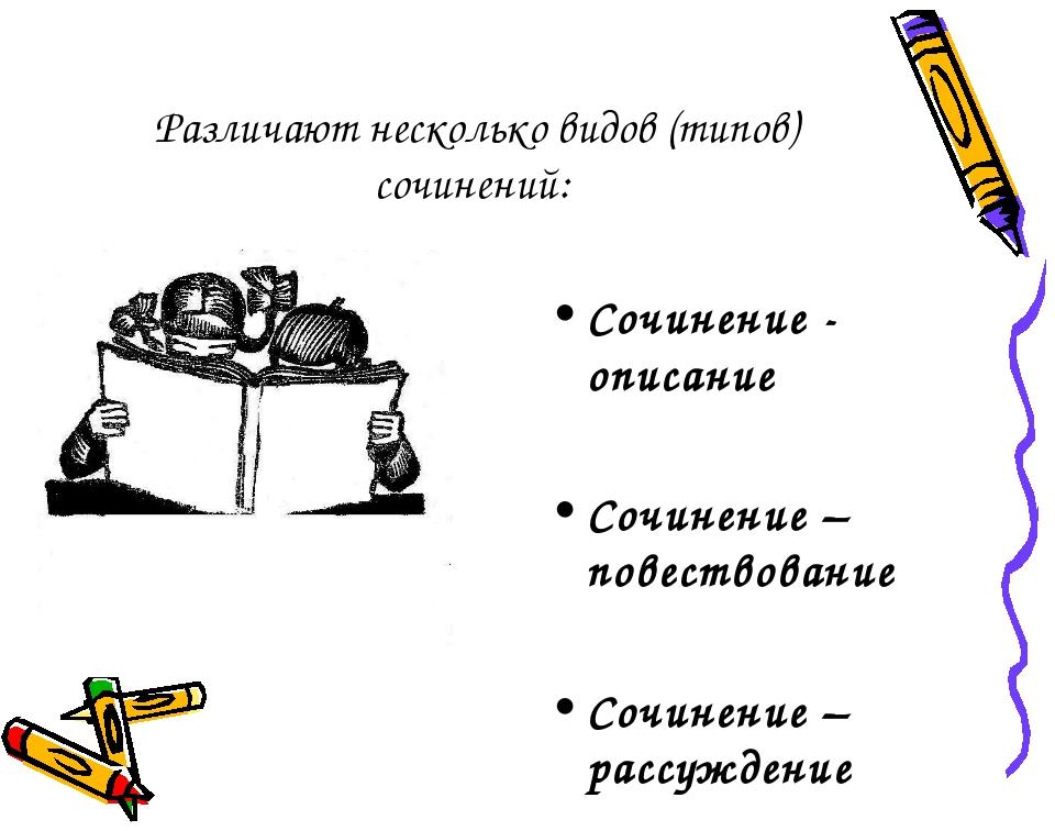 Различают несколько видов (типов) сочинений: Сочинение - описание Сочинение –...