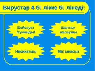 Вирустар 4 бөлікке бөлінеді: Бейсауат /гуманды/ Шантаж жасаушы Насихатшы Мағы