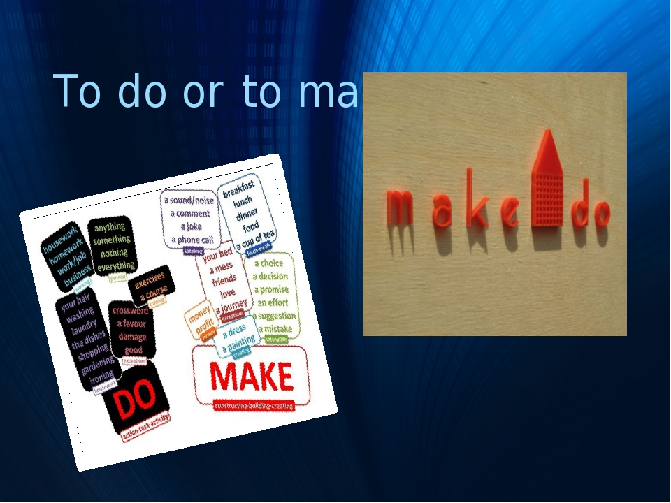 To do or to make?