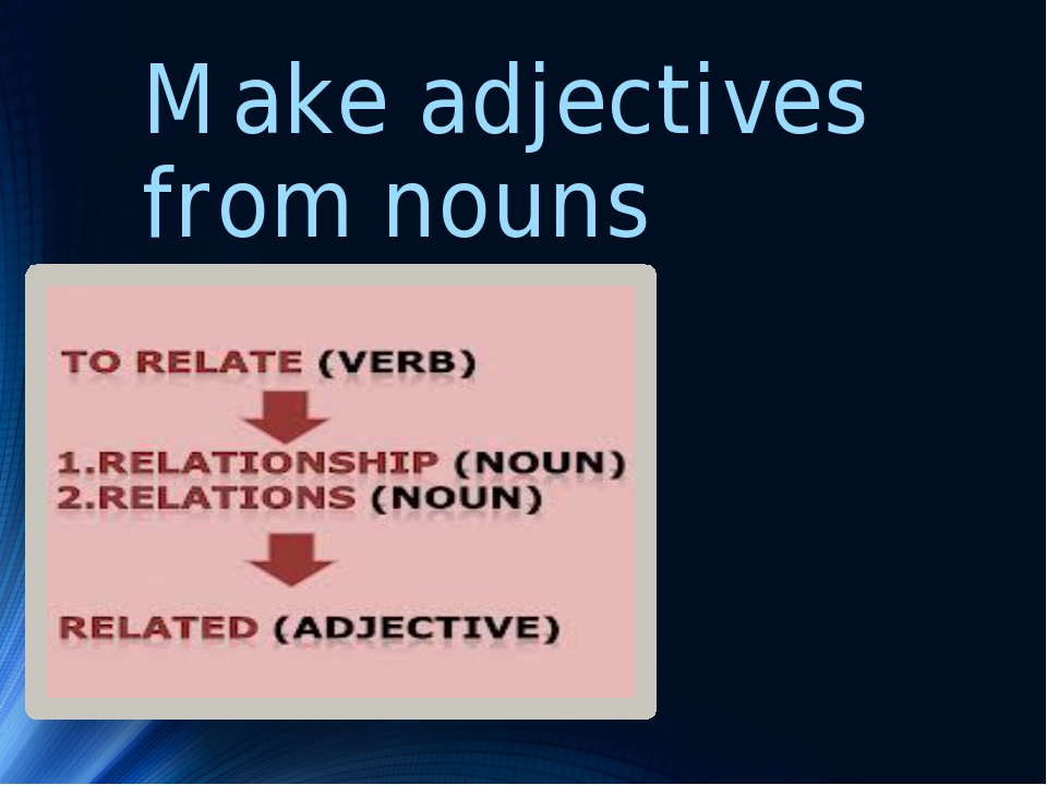 Make adjectives from nouns