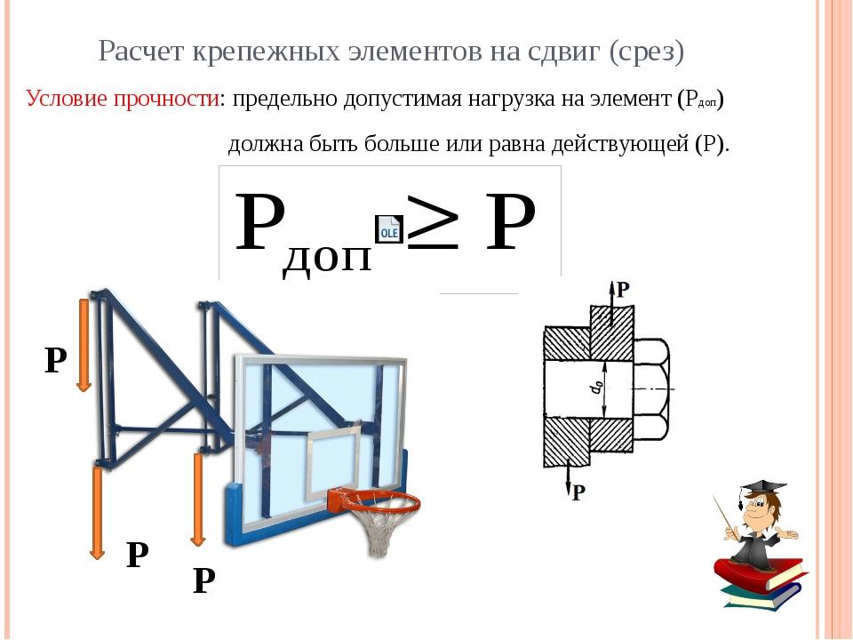 Расчет крепежных элементов на сдвиг (срез) Крепежный элемент Действующая нагр...