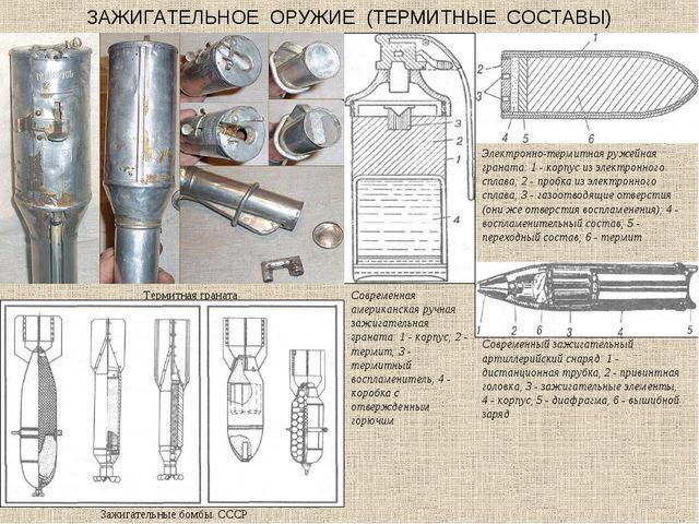 ЗАЖИГАТЕЛЬНОЕ ОРУЖИЕ (ТЕРМИТНЫЕ СОСТАВЫ) Термитная граната Зажигательные бомб...