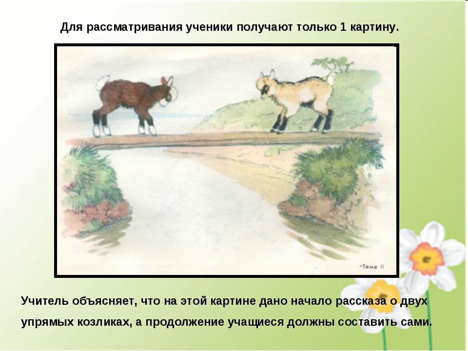 Для рассматривания ученики получают только 1 картину. Учитель объясняет, что...