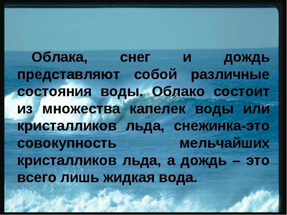 Облака, снег и дождь представляют собой различные состояния воды. Облако сост...